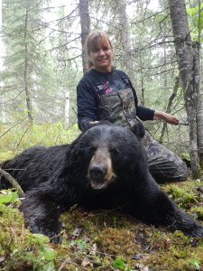 My Saskatchewan Black Bear. It was all I could do to lift his head for the picture! Photo: Diane Hassinger